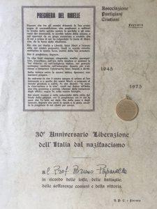 Attestato 30° anniversario della Resistenza