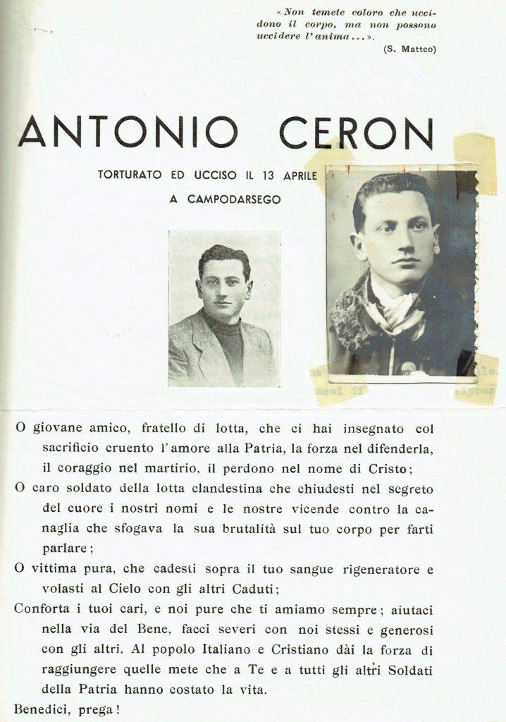 Ricordo funebre di Antonio Ceron