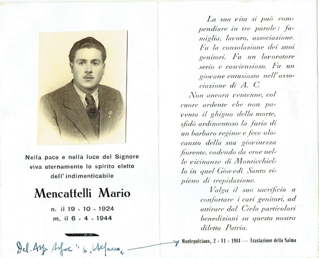 Ricordo funebre di Mario Mencatelli