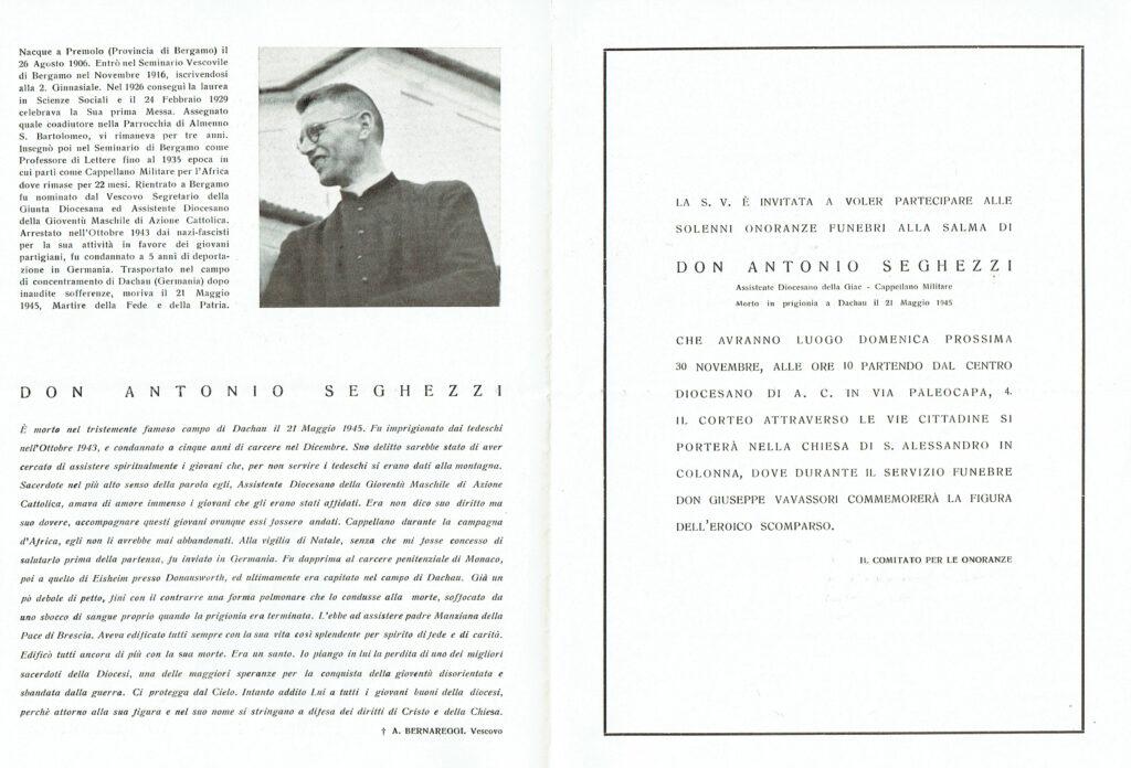 Ricordo funebre di don Antonio Seghezzi