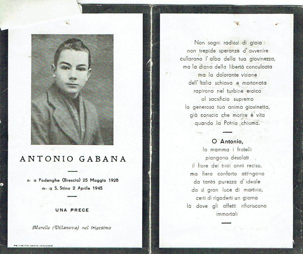 Ricordo funebre di Antonio Gabana