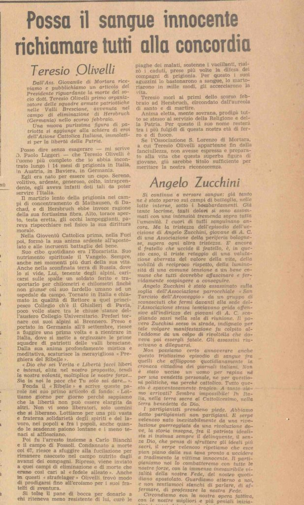 Articolo su «Gioventù Nova»