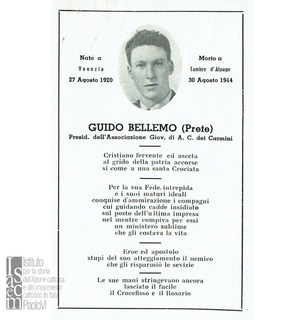 Ricordo funebre di Guido Bellemo