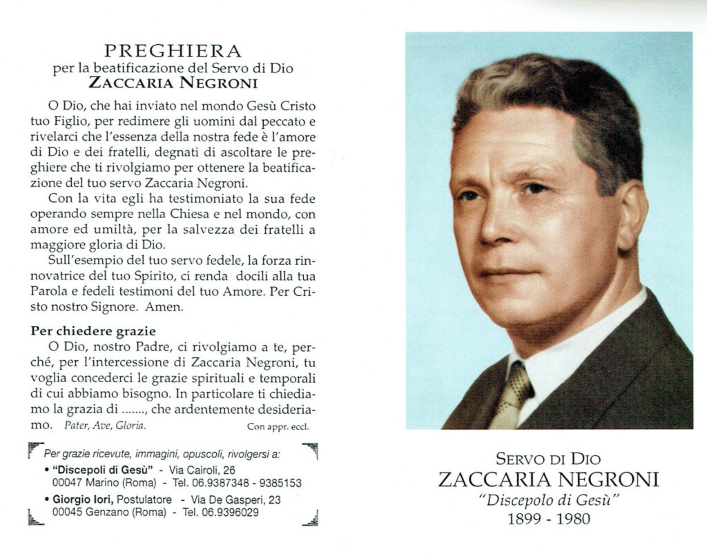 Ricordo funebre di Zaccaria Negroni