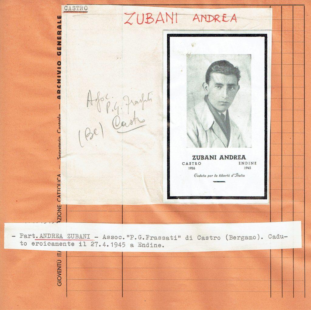 Ricordo funebre di Andrea Zubani