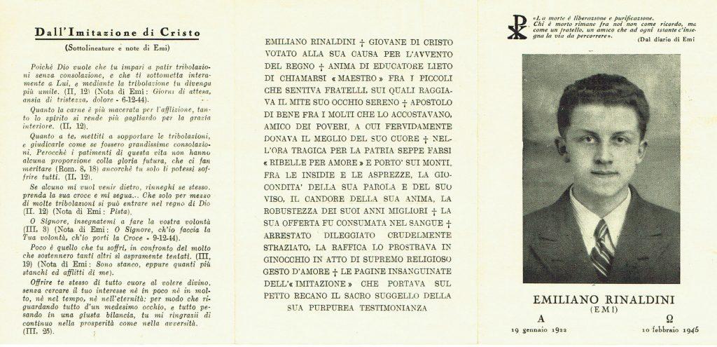 Ricordo funebre di Emiliano Rinaldini