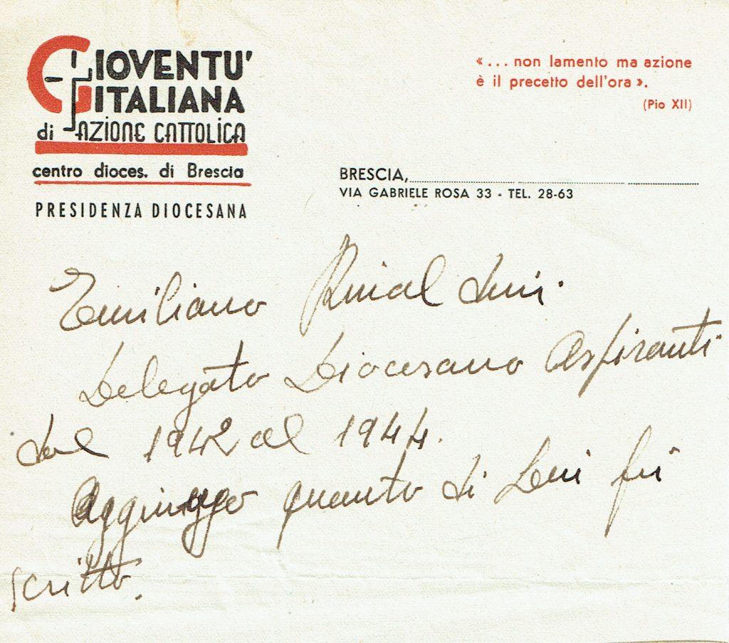 Lettera del Centro diocesano di Brescia