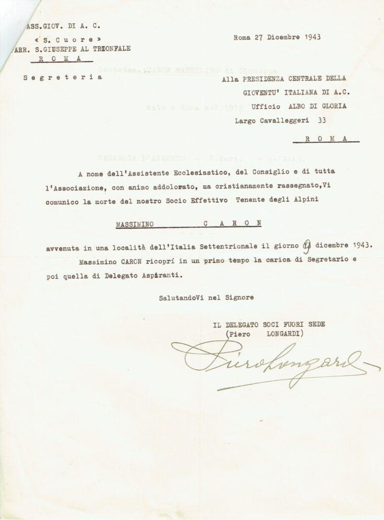 Lettera del circolo Giac S. Cuore di Roma