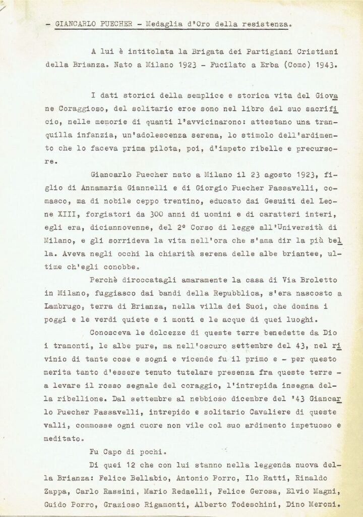 Notizie biografiche di Giancarlo Puecher. Isacem, Giac, b. 770, fasc. Guerra di liberazione, 1943/45