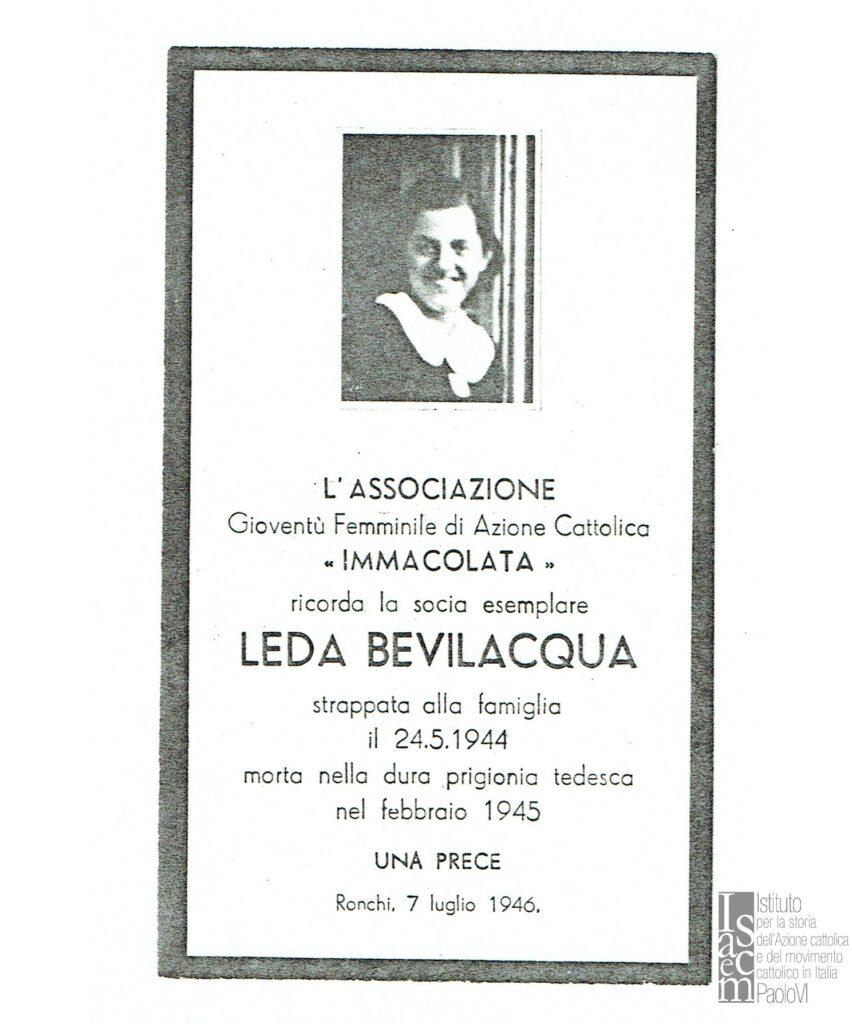 Ricordo funebre di Leda Bevilacqua